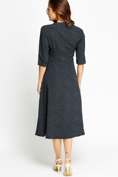 Polka Dot Navy Midi Dress