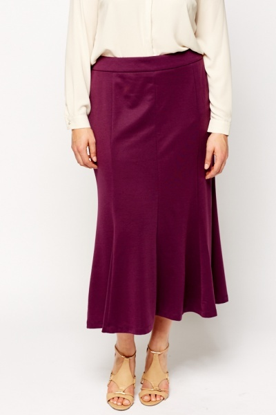 Purple Midi Swing Skirt