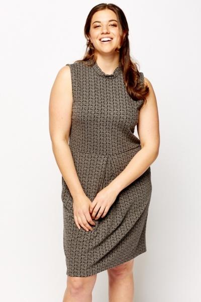 Textured Grey Pencil Dress