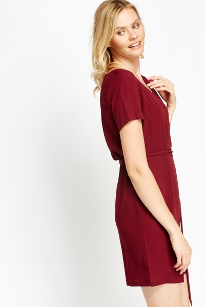 Wine T-Shirt Tie Up Dress