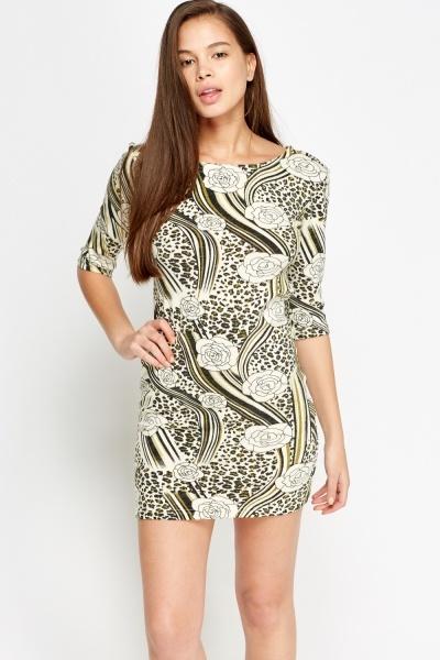 Knitted Mixed Print Dress (16L(EU-44))