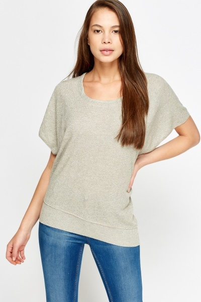 Metallic Knit Asymmetric Top