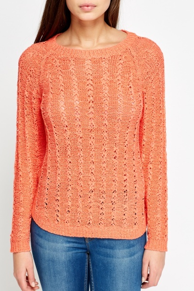 Striped Cable Knit Jumper