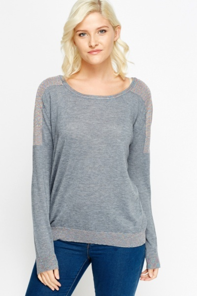 Contrast Shoulder Open Back Top