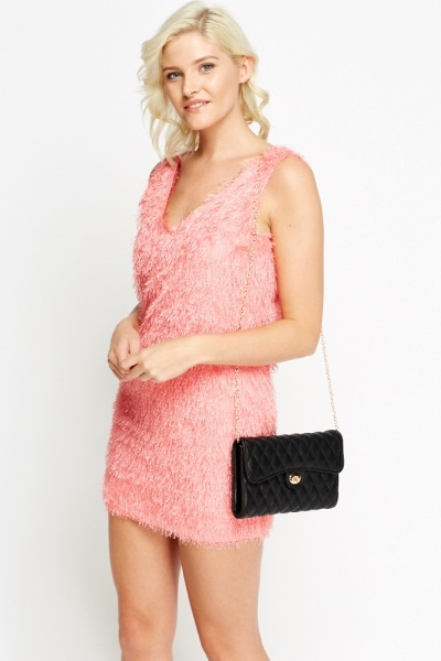 Eyelash Plunge Mini Dress