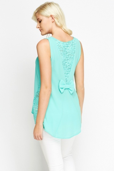 Lace Insert Bow Top