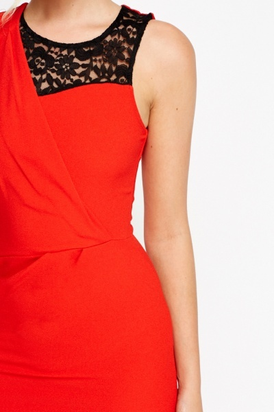 Lace Insert Wrap Midi Dress