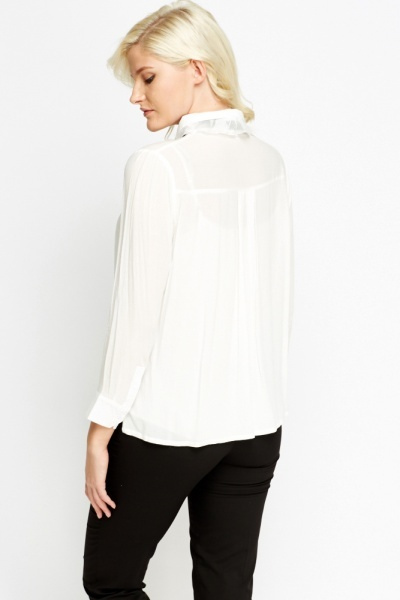 Tie Up Neck sheer Blouse