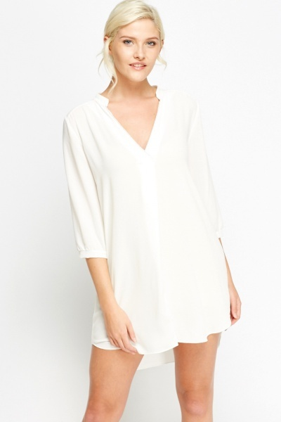 V-Neck Sheer Shift Dress