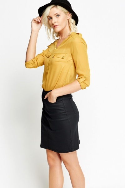Waxed High Waist Skirt