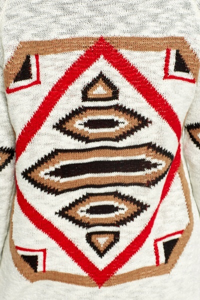 Aztec Print Knitted Cardigan