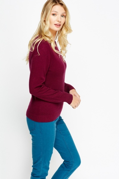 Burgundy Casual Jumper