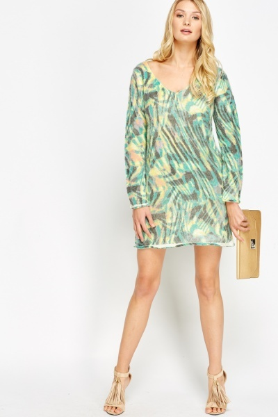 Image of Mixed Print Jumper Dress