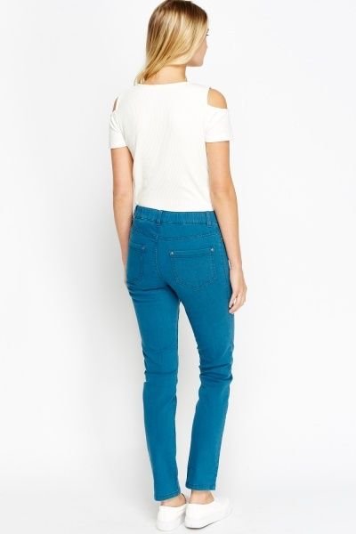 Teal Skinny Denim Jeans