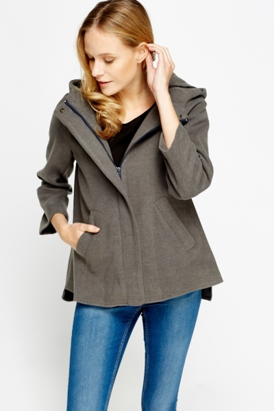 Cropped Light Grey Hooded Coat