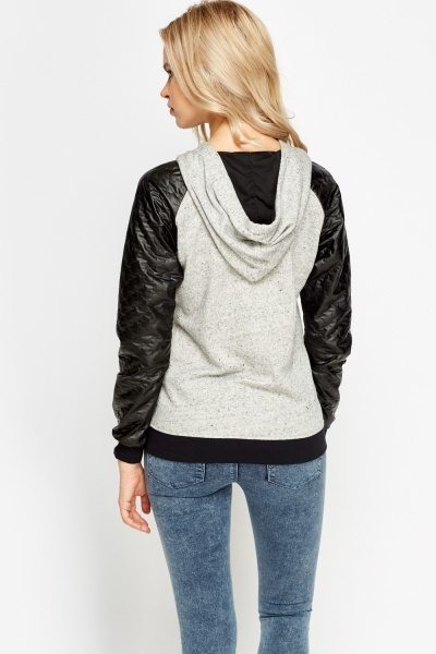 Quilted Faux Leather Sleeves Hoodie