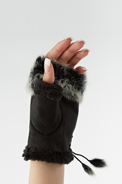 Faux Fur Trim Fingerless Gloves