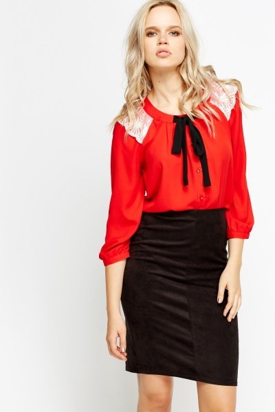 Mesh Insert Contrast Tie Blouse