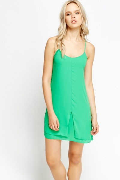 Spaghetti Strap Overlay Green Dress