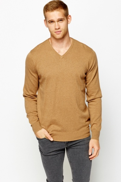 V-Neck Light Brown Jumper