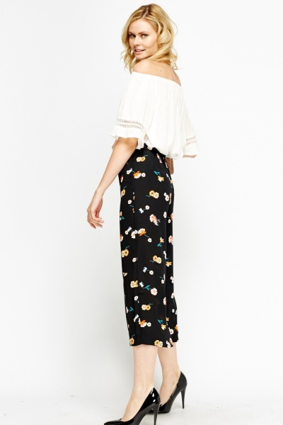 Flower Print Wide Leg Cropped Trousers