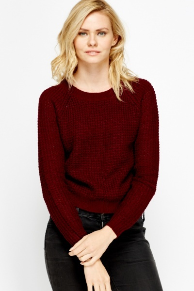 Tie Up Back Knit Cropped Jumper