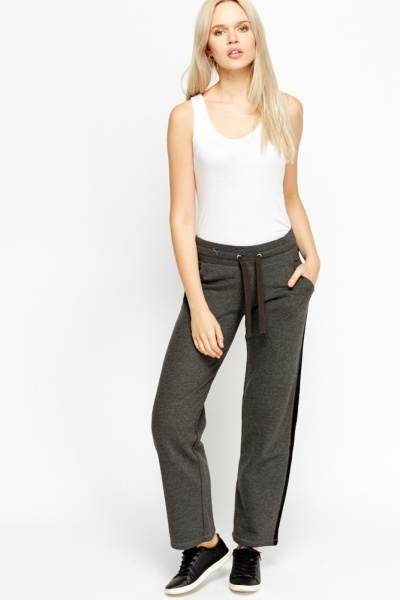Contrast Side Straight Joggers
