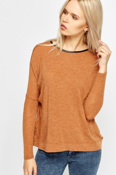 Image of Textured Leather Trim Jumper