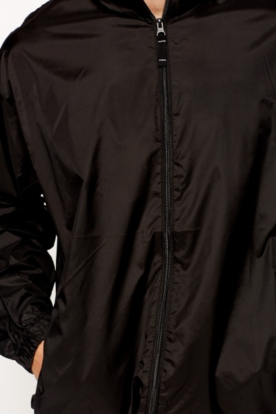 Zip Front Waterproof Black Jacket