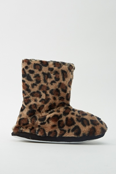 Image of Animal Print Faux Fur Slipper Boots