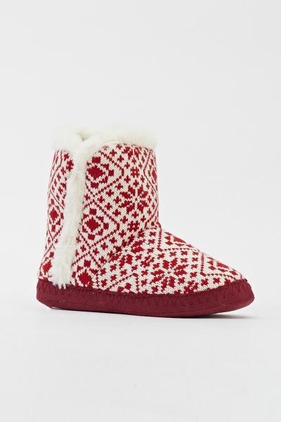 Image of Faux Fur Trim Knit Slipper Boots