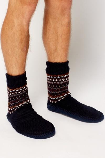 High Top Knit Slipper Boots Just 5