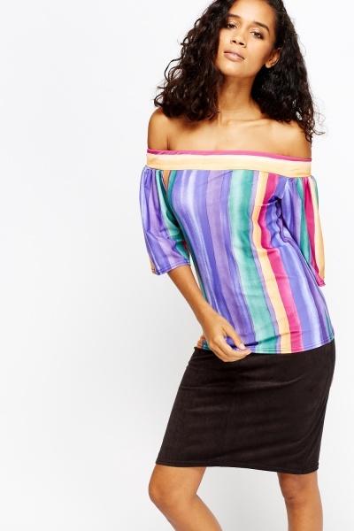 Multi Colour Striped Off Shoulder Top
