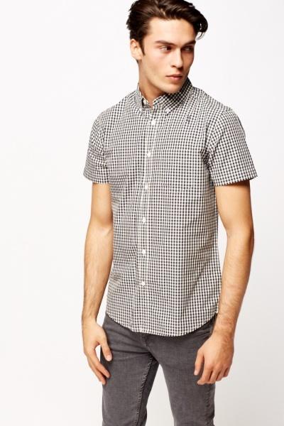 Short Sleeve Grid Print Shirt