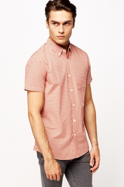 Short Sleeve Grid Print Shirt