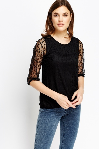 Image of Black Lace Overlay Top