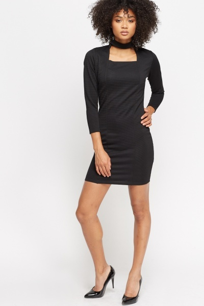 Image of Cut Out Ribbed Dress