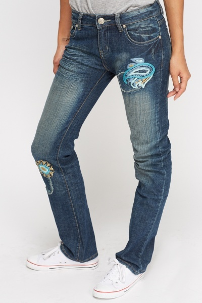 Embroidered Straight Leg Jeans - Just U00a35