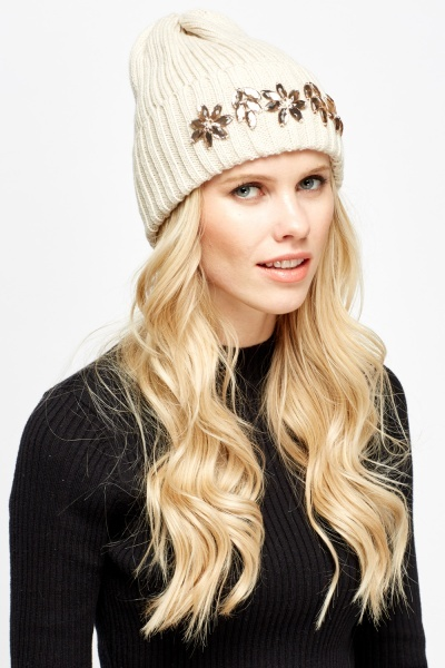 Image of Embroidered Diamante Beanie Hat