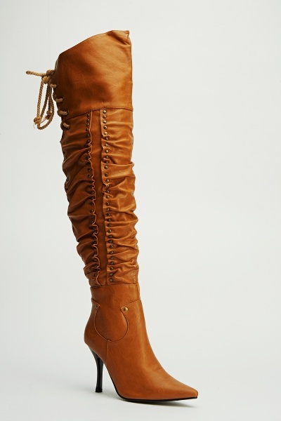 Studded Ruched High Knee Boots