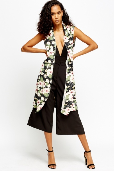 Floral Sleeveless Long Blazer