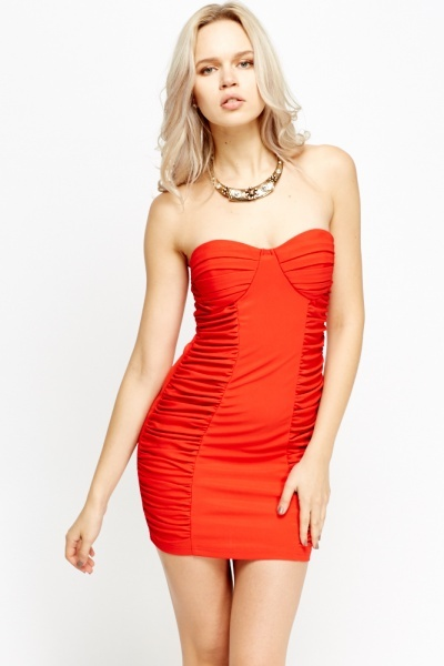 Ruched Mini Bandeau Dress
