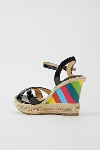 Multi Stripe Wedge Sandals