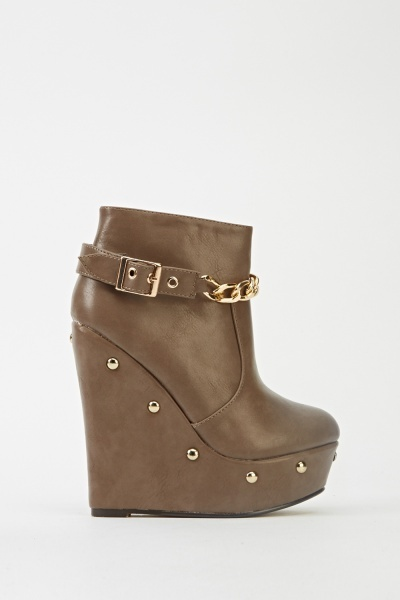 Chain Encrusted Wedge Boots