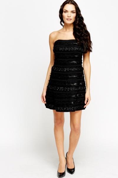 Black Embroidered Bandeau Dress