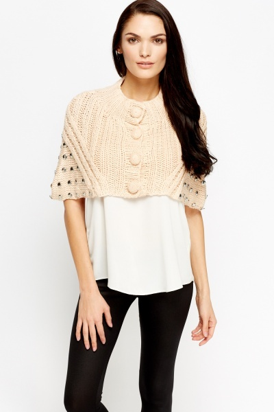 Image of Light Pink Cable Knit Bolero