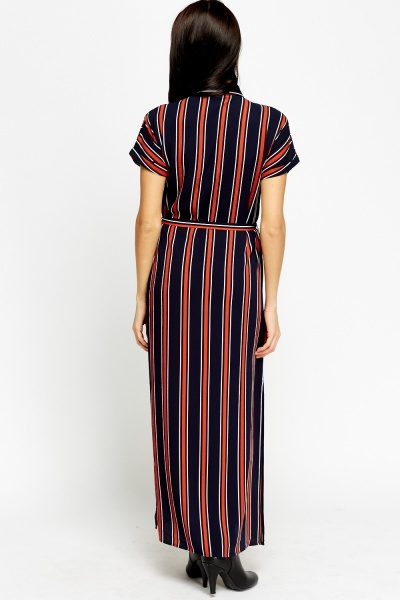 Multi Stripe Maxi Shirt Dress