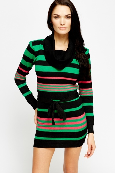 Stripe Cowl Neck Jumper Dress