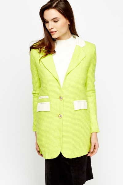 Contrast Trim Textured Long Jacket