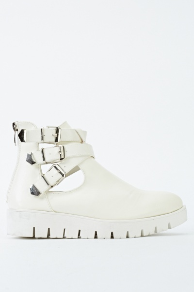Buckle Straps Cut Out Ankle Boots